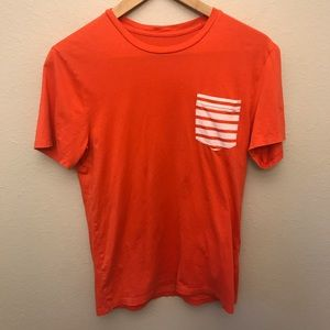 Armani Exchange Orange Striped Pocket T-Shirt